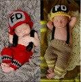 Пожарный новорожденных реквизит для фотографии набор детей головные уборы аксессуары для младенцев фото новорожденных фотосессии шапочка ребенка cap