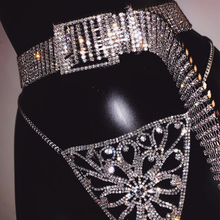 Fashion bride wide metal chain belt for women punk bright full rhinestone inlaid female Silver bling crystal diamond waist belt