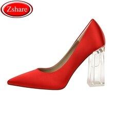 цена Transparent crystal heel high heels pumps women shoes sexy pointed toe Square heels 12 colors ladies wedding shoes size 34-43 онлайн в 2017 году