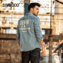 سيموود 2020 طباعة الدنيم قمصان الرجال موضة العلامة التجارية قمصان طويلة الأكمام الرجال عادية الدنيم قميص الذكور حجم كبير شيميز أوم 190075