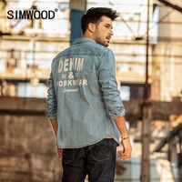 SIMWOOD 2019 Print Denim Shirts Men Fashion Brand Long Sleeve Men Shirts Casual Denim Shirt Male Plus Size chemise homme 190075