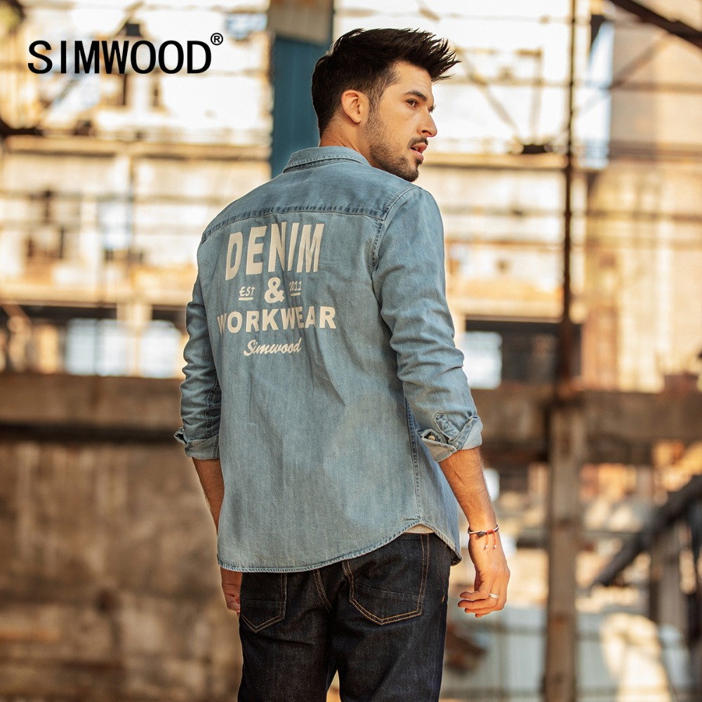 SIMWOOD 2020 Print Denim Shirts Men Fashion Brand Long Sleeve Men Shirts Casual Denim Shirt Male Plus Size Chemise Homme 190075