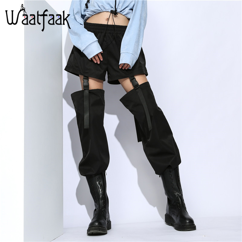 Waatfaak Detachable Buckle Hollow Out Harem Pants High Waist Drawstring Hem Loose Black Trousers Women Streetwear Pockets Long