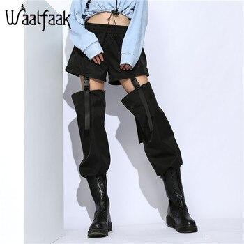 Waatfaak, pantalones de harén con agujeros y hebilla desmontable, dobladillo de cordón de cintura alta, pantalones negros holgados, ropa de calle para mujer, bolsillos largos