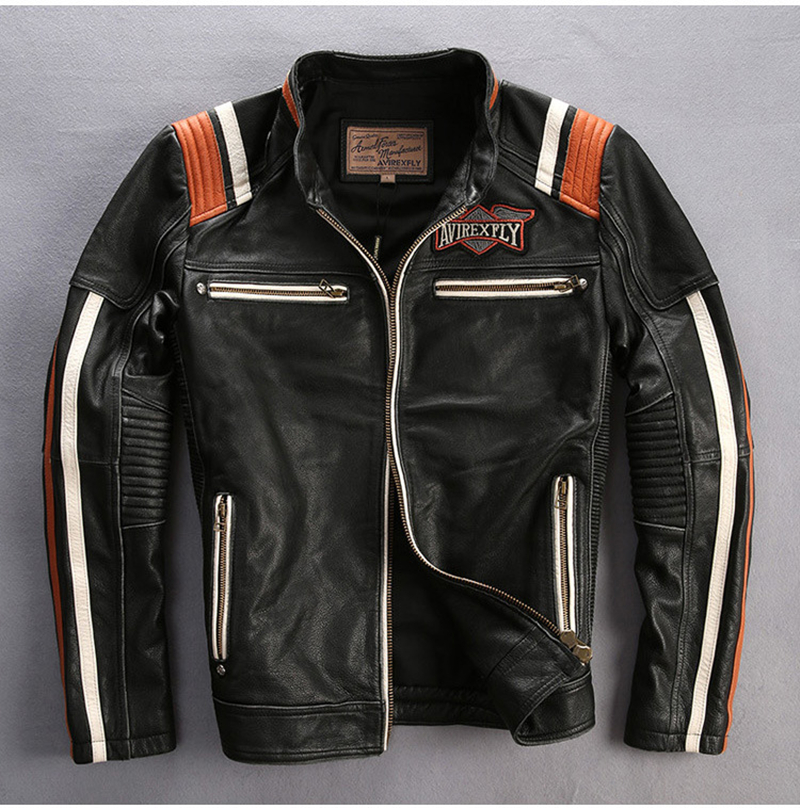 2019 Men Motorcycle Rider Jacket Genuine Leather Vintage Coat Stand Collar Embroidery Cowhide Leather Jacket DHL Free Shipping