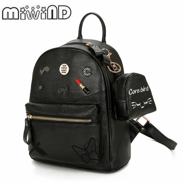 1cf4a6029c4 2017 MIWIND NEW Fashion Designed Brand Backpack Women Backpack PU Leather  School Bag Women Casual Style Backpacks + Small Bags