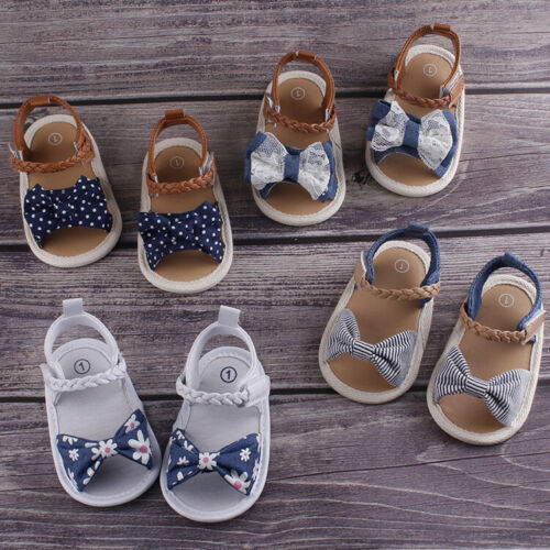 Summer Newborn Baby Girl Bowknot Anti-Slip Crib Shoes Soft Sole Prewalkers
