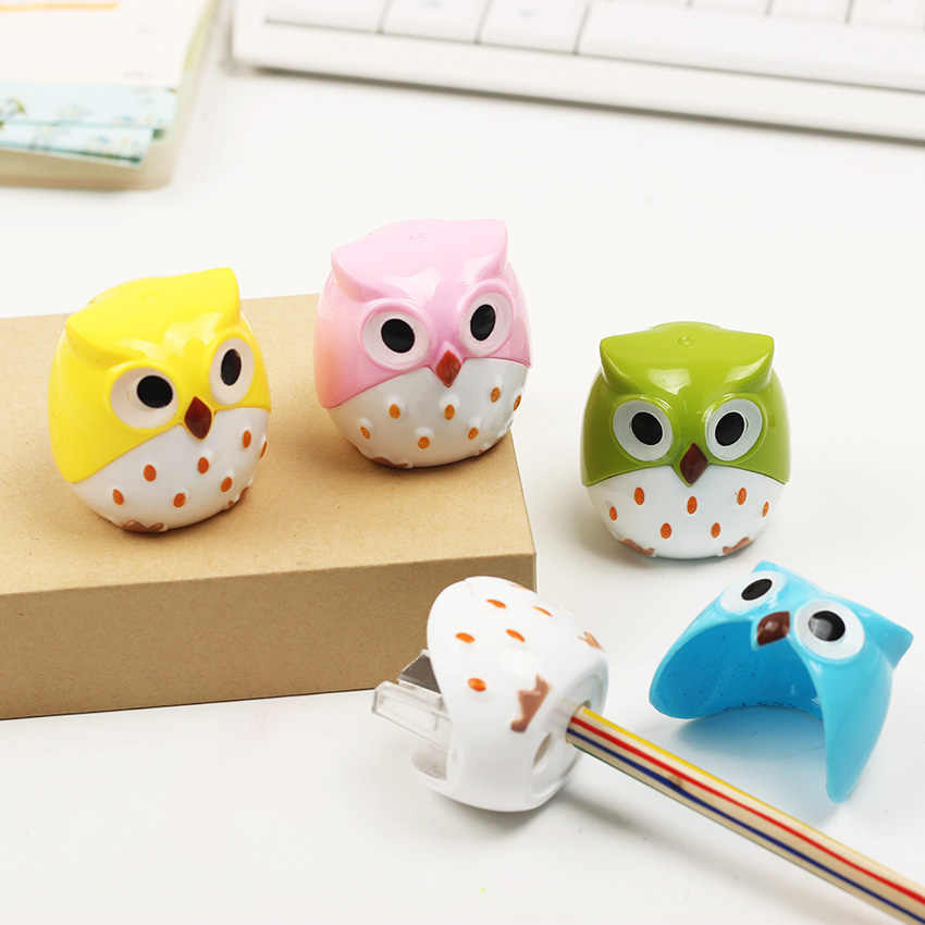 1 PC Mini Kawaii Funny Learning Stationery Owl Pencil Sharpener Cutter Knife School Student Stationery Supplies