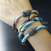 WT-B242 Latest Unique Snake Leather Bracelet Wholesale Genuine leather amazing colors double layer bracelet rhinestone bracelets(China)