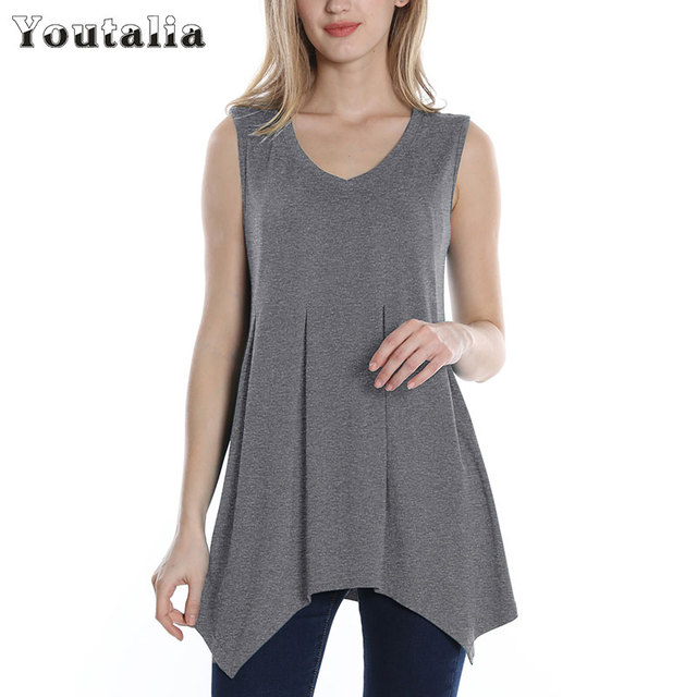add84292 Youtalia Casual Summer Tank Top Women 2017 Sleeveless Top Women A Line Sexy  V Neck Tunic Tank Tops Ladies Brand Long Tops Vest