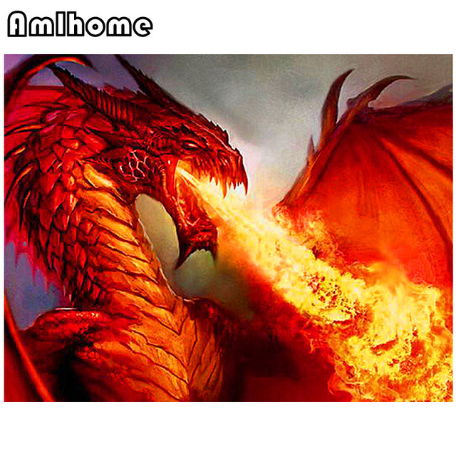 Amlhome new 5d diy diamond painting fire dragon diamond embroidery cross stitch arts crafts - Dragon images gratuites ...