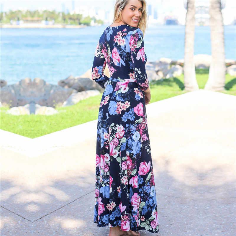 Макси-платье 2019 с цветочным принтом Boho пляжное длинное платье туника сексуальное с v-образным вырезом Бандажное платье осеннее повседневное женское вечернее платье Vestidos