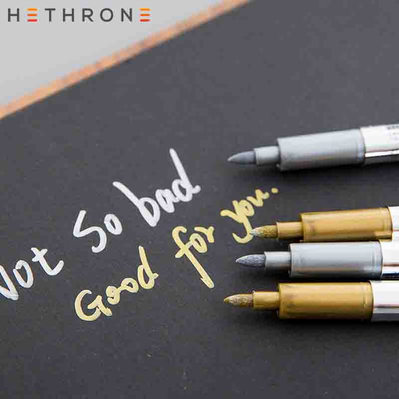 Hethrone  1pcs Gold Markers Pen Drawing Permanent Metal Paint Pen Oil Painting Supplies Markers Metal Pen For Graffiti DIY Gifts