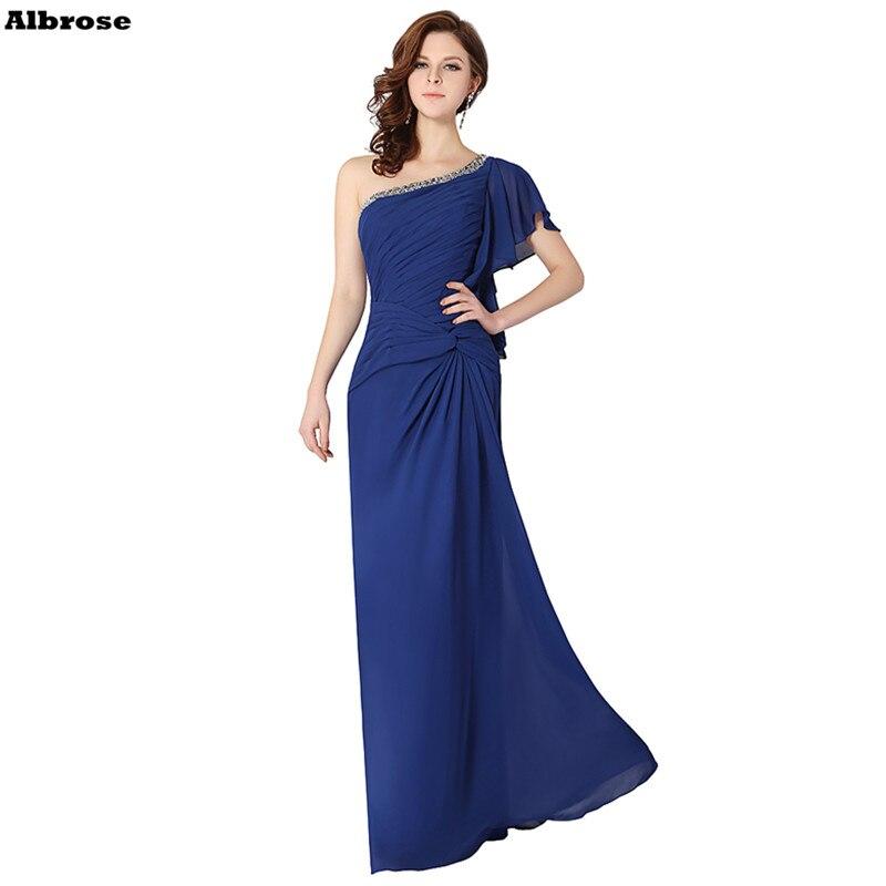 Королевский синий шифон Beach Платья невесты Кристалл одно плечо платье подружки невесты длинные официальная Вечеринка платья Chic Vestido De Festa