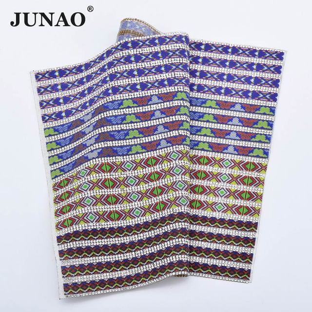 JUNAO 24 40cm Self Adhesive Mix Color Glass Rhinestone Fabric Mesh Trim  Beads Applique Strass 3586c3f59700