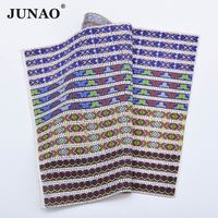JUNAO 24 40cm Self Adhesive Mix Color Glass Crystal Rhinestone Trim Mesh Bridal Beaded Applique Glue