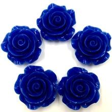 50Pcs Dark Blue DIY Resin Rose Flower Shape Spacer Beads Cameos Jewelry Making 28x27mm
