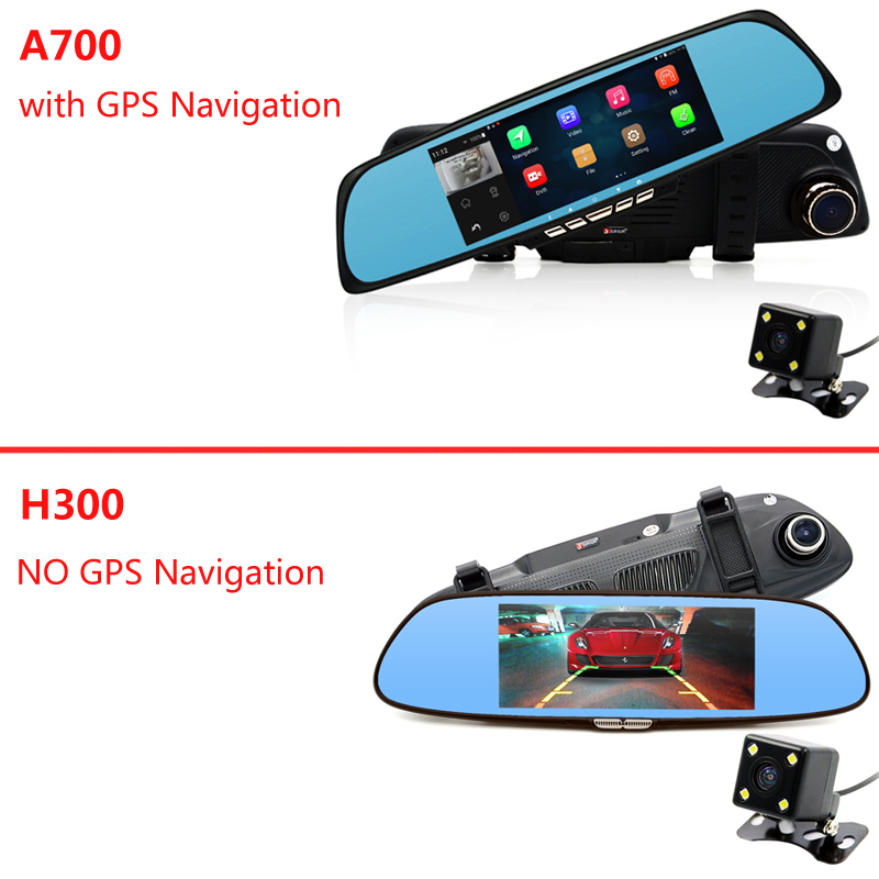 "Junsun 6.86"" Car Camera DVR GPS Navigation Dual Lens Rearview Mirror Video Recorder FHD 1080P Automobile DVR Mirror Dash cam"