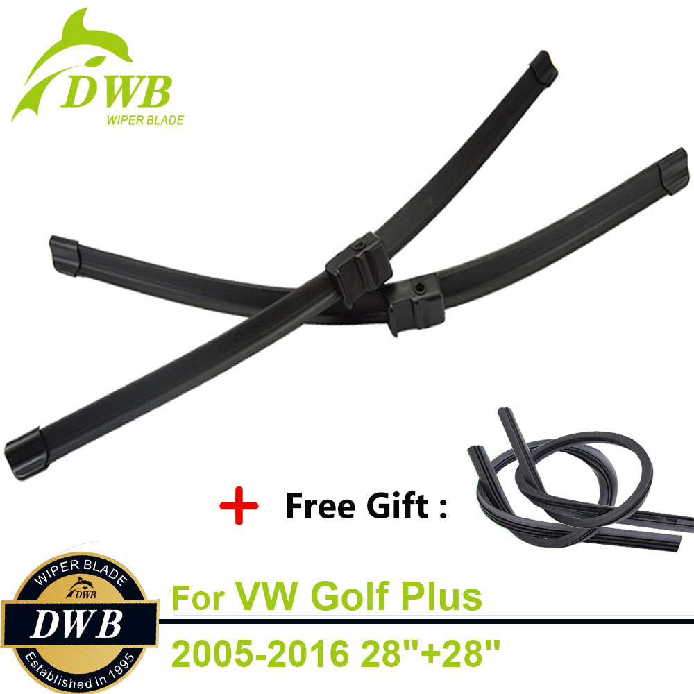 2PCS ECO Wiper Blades for Volkswagen Golf Plus 2005-2016 28+28, Free Gift 2Pcs Rubbers, New Windshield Wipers