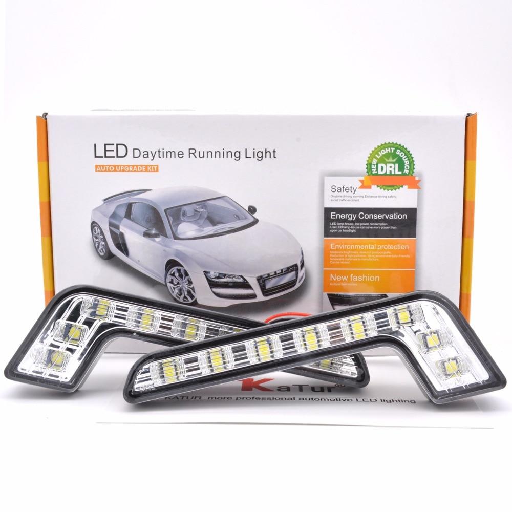 цена на Katur 2pcs LED Car Daytime Running Lights Led Fog Lamp Driving Day Light 12V 8 LED White DRL Daylight Lamp For BENZ DRL LED