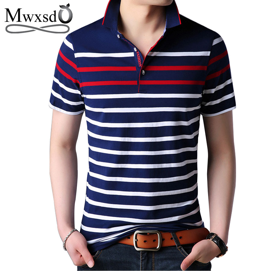 Mwxsd brand casual mens striped cotton   polo   shirts men breath soft   polo   Short Sleeve High Quantity   polo   for men