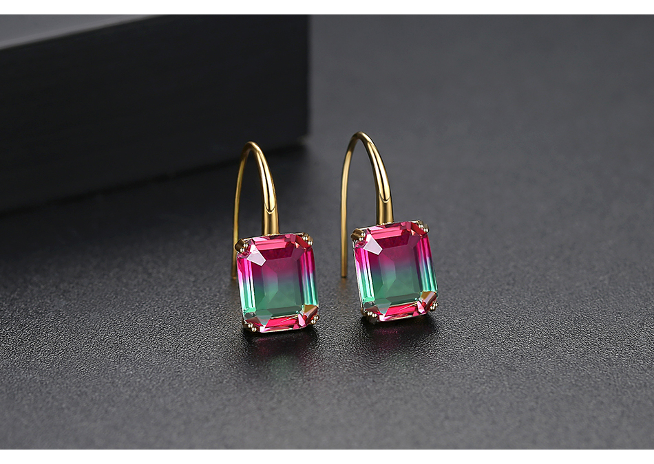 LUOTEEMI New Exquisite Drop Earrings for Women Party Dating Luxury Square-shaped Color Treasure Two Colors Female Christmas Gift 8