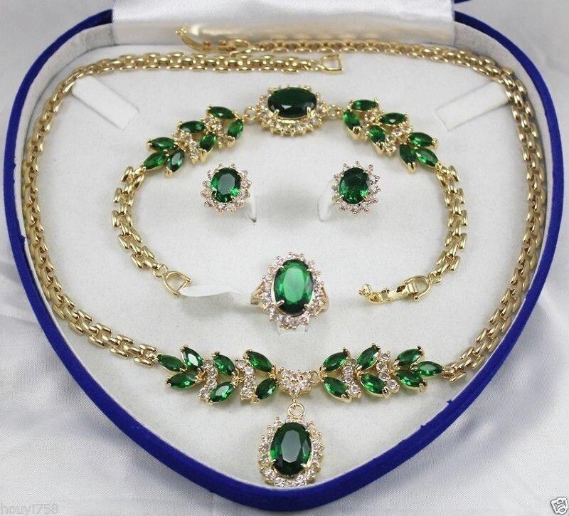 Livraison gratuite bijoux de mariée femmes ensemble vert cristal collier boucle d'oreille anneau Bracelet AAA style 100% naturel Noble Fine jewe