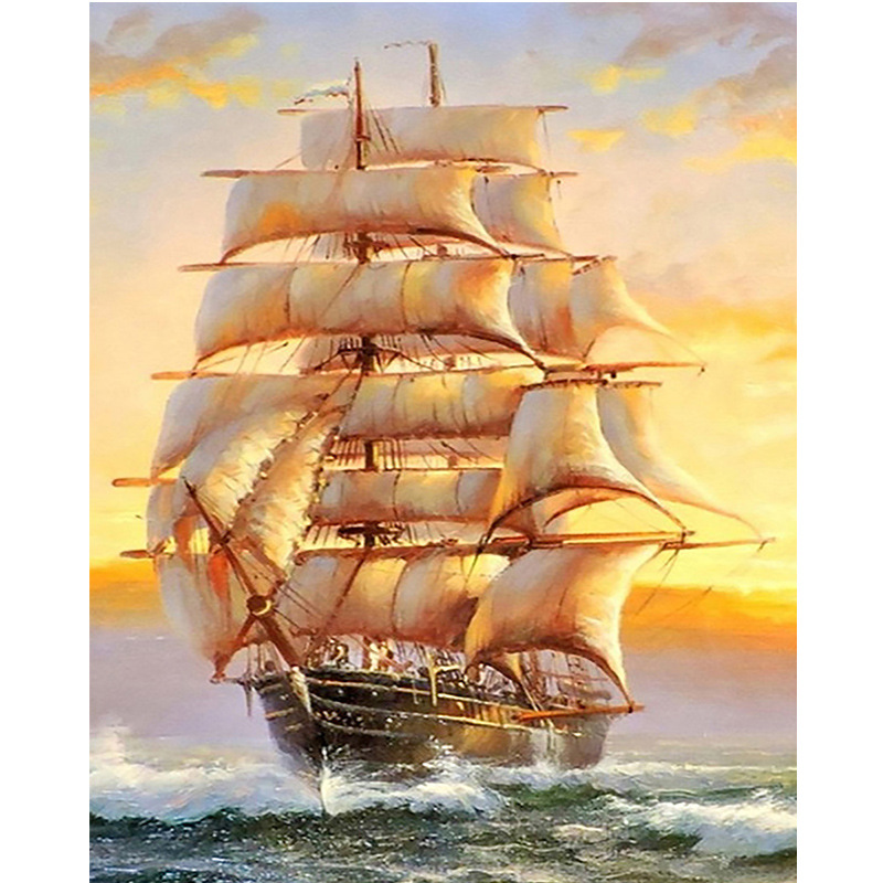 5D Diamond Embroidery Ship Landscape Handmade Diamond Painting Scenery Needlework Cross Stitch Home Decor(China)