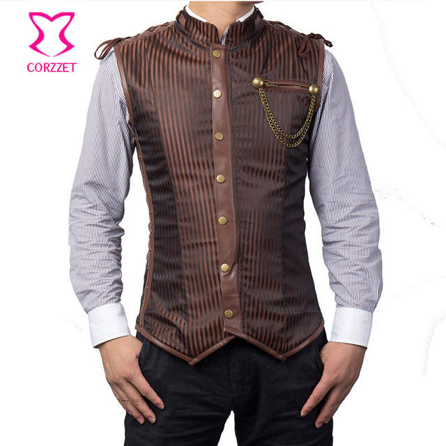 15ade5ac84beb US $50.9 26% OFF|Punk Rock Black Striped Sleeveless Jacket Steampunk Vest  Men Chaleco Hombre Plus Size 6XL Corset Mens Waistcoat Gothic Clothing-in  ...