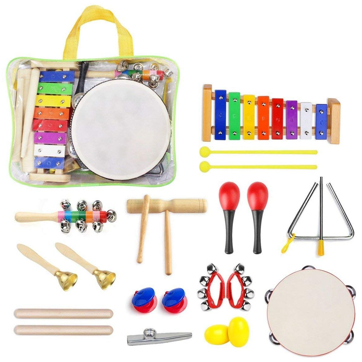 22 Pcs Toddler Musical Instruments Set Percussion Instrument Toys Toddler Musical Toy Set Rhythm Band Set Birthday Gift For Kids