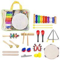 22 pçs da criança conjunto de instrumentos musicais instrumento de percussão brinquedos criança conjunto de brinquedos musicais banda ritmo conjunto presente aniversário para crianças