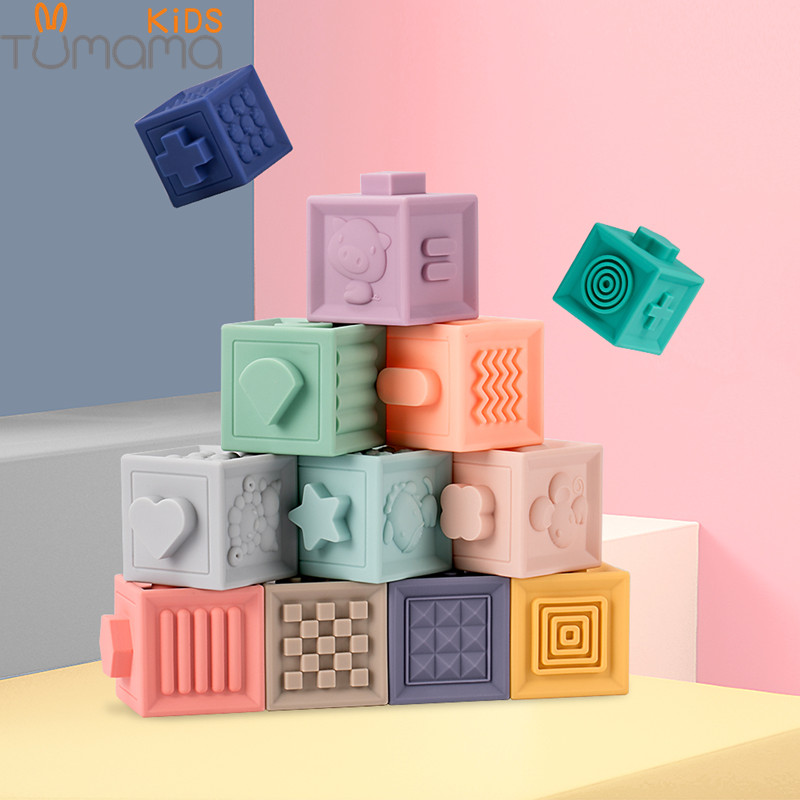 Tumama 12 unids/set bebé alcance bloques de construcción de juguete 3D toque la mano suave bolas de masaje de bebé de dentición juguete de baño bola de Juguetes