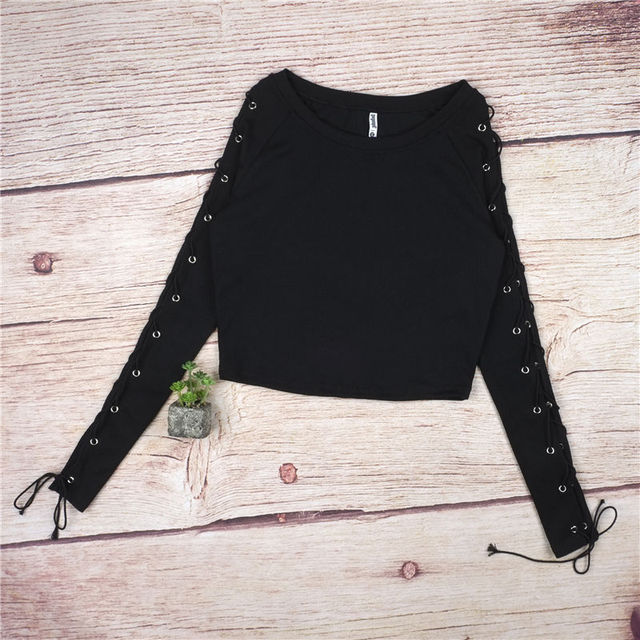 Long Sleeve Casual Crop Top 1