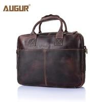 AUGUR Retro Genuine Leather High Quality Bag Brand Crazy Horse Men Handbags Men Buiniess Travel Shoulder Bags