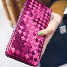 Marke Designer Brieftasche Frauen Woven Brieftaschen Weibliche Damen Brieftaschen Reißverschluss Lange Frauen Leder Kupplung Geldbörsen Geldbörse