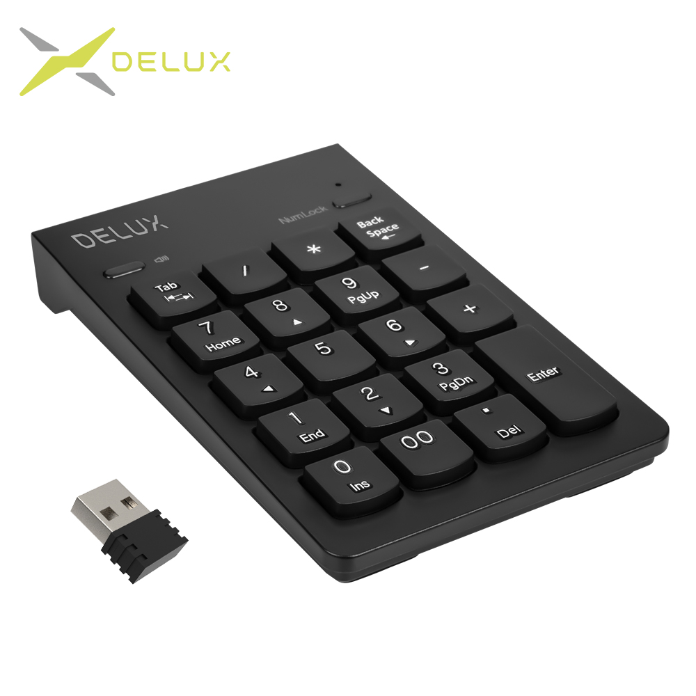 Delux K300G USB Wireless Numeric Keypad With Sound Switch Ergonomic Ultra-slim Mini Keyboard With Number Lock For Bank Cashier