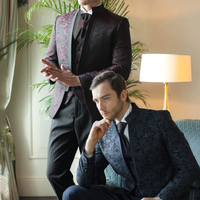 2019 Europe Men Slim Print Blazers Long Sleeve Single Button Smart Casual Suits Wine Red Black Business Suit Jacket Slim Fit