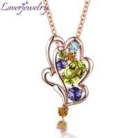Модный Цветной кристаллический кулон, цельный кулон из розового золота 18 К с бриллиантами, кулон из перидота, ожерелье для дочери, любящее ю