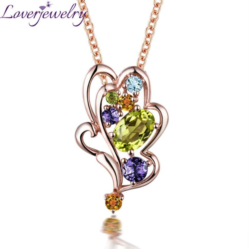 Fashional coloré pendentif en cristal solide 18kt or Rose diamant péridot pendentif collier pour fille aimant bijoux cadeau WP089