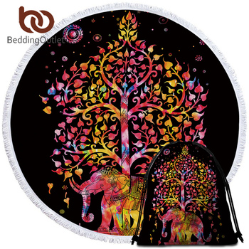 BeddingOutlet Elephant Round Beach Towel Black and White Tassel Tapestry Microfiber Yoga Mat Tree Printed Toalla Blanket 150cm 1