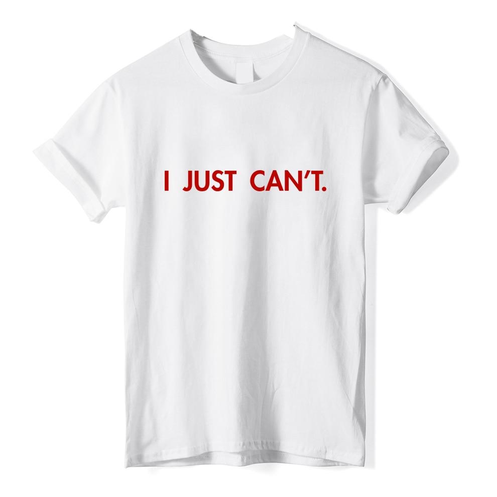 ONSEME Herren 100% Baumwolle Shirts Ich KANN EINFACH NICHT Briefe Drucken T Shirts Männlichen Sommer Lose Grundlegende T Tops