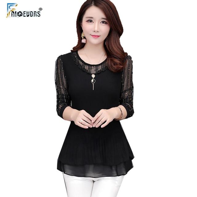 f80a2b1874dd8a Otoño Invierno Camisetas básicas blusas Mujer moda manga larga elegante  Oficina Patchwork negro malla pura túnica
