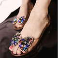 Bean Butterfly pendant crystal clear resin Crystal fish mouth plastic jelly Sandals flat women's shoes soft casual slip flats