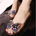De feijão pingente de borboleta Crystal clear resina boca de peixe de cristal sandálias da geléia de plástico sapatos macios planas mulheres apartamentos deslizamento casuais