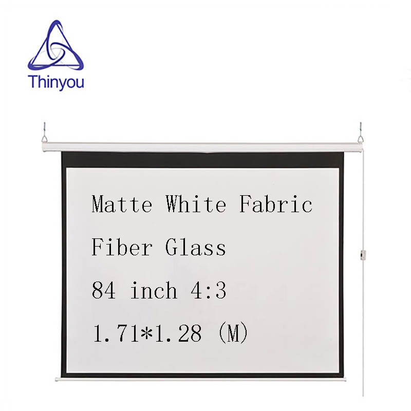 Thinyou 84 inch 4 3 Electric Screen With Remote Control Up Down Matte White Fabric Fiber