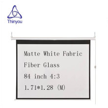 Thinyou 84 inch 4:3 Electric Screen With Remote Control Up Down Matte White Fabric Fiber Glass Curtain HD Projector Screen