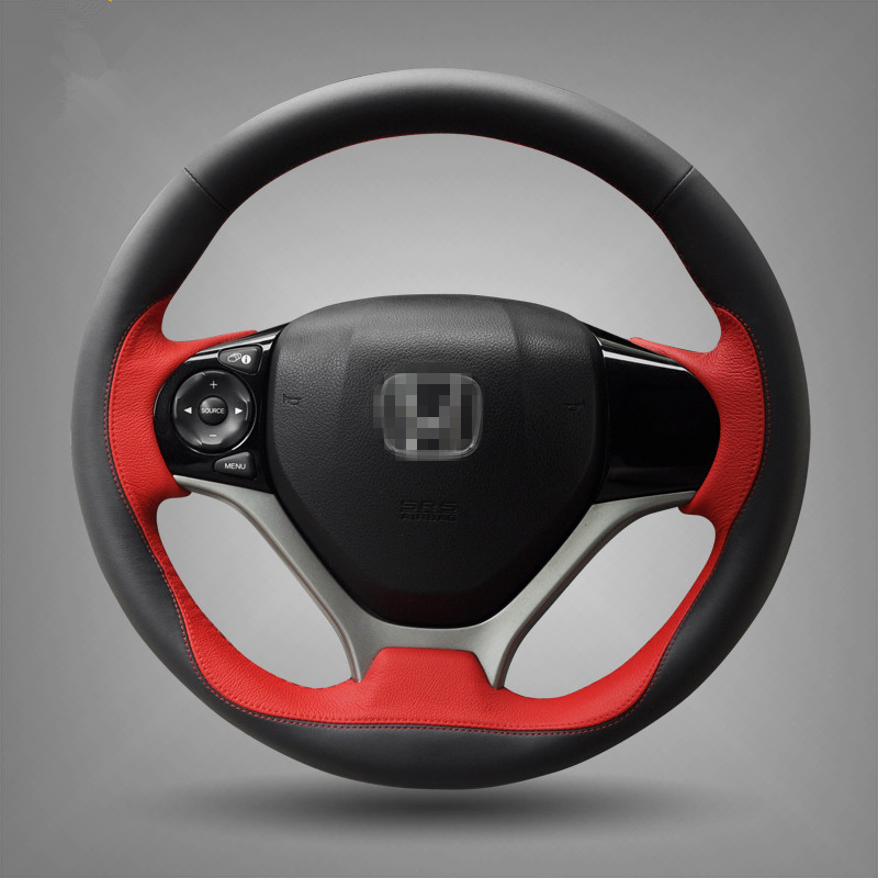 Hand-stitched Black Red Leather Steering Wheel Cover for Honda Civic 2012 2013 2014 Car Special