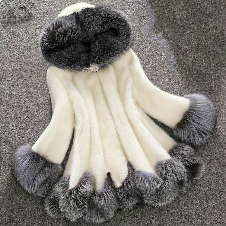 Mulheres do falso casaco de pele branco cinza com pele chapéu de pele mulheres casaco longo casaco de peles de Imitação de vison casaco de luxo mulheres brasão plus size 6XL