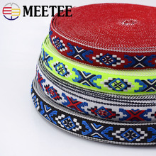 Meetee 10yards 2cm Jacquard Embroidery Webbing Ribbon National Lace DIY Hand Sewing Bag Clothing Home Jewelry Accessories BD444