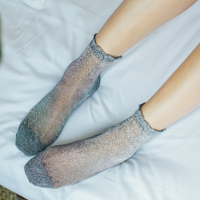 Women Fashion Shiny Trendy Girls Glitter Ankles   Socks   Spring Summer Thin Gauze Transparent Lady Sox Soft Comfortable